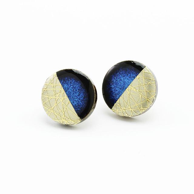 藍色 丸 陶器 イヤリング&ピアス 上弦・下弦の月 美濃焼  伝統工芸