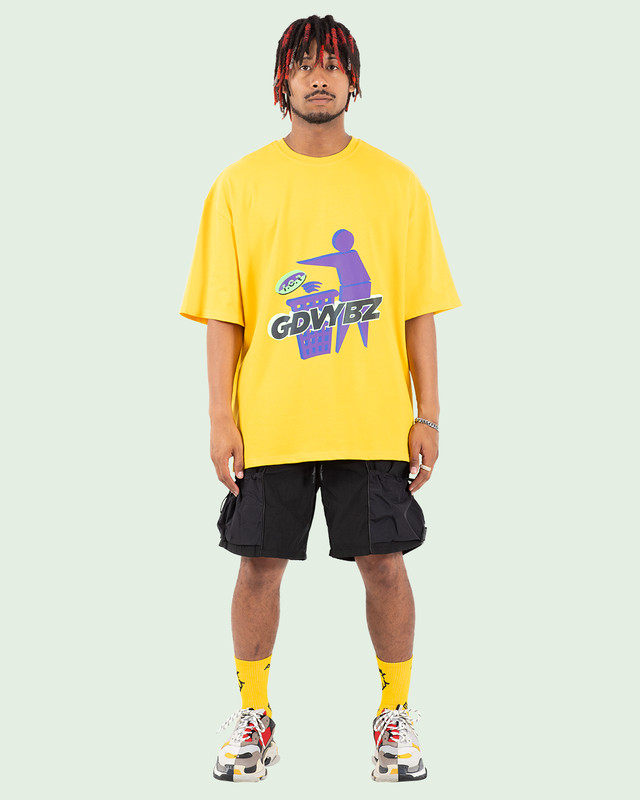 OVERSIZED RAINBOW REFLECTIVE GDVYBZ TEE YELLOW