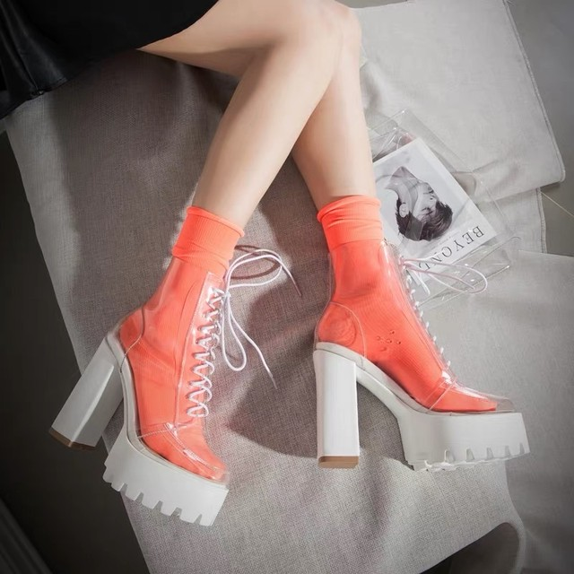 clear ribbon heel boots