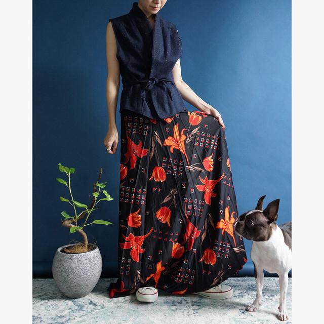 【送料無料】80's Vintage Black Floral Print Maxi Wrap Skirt