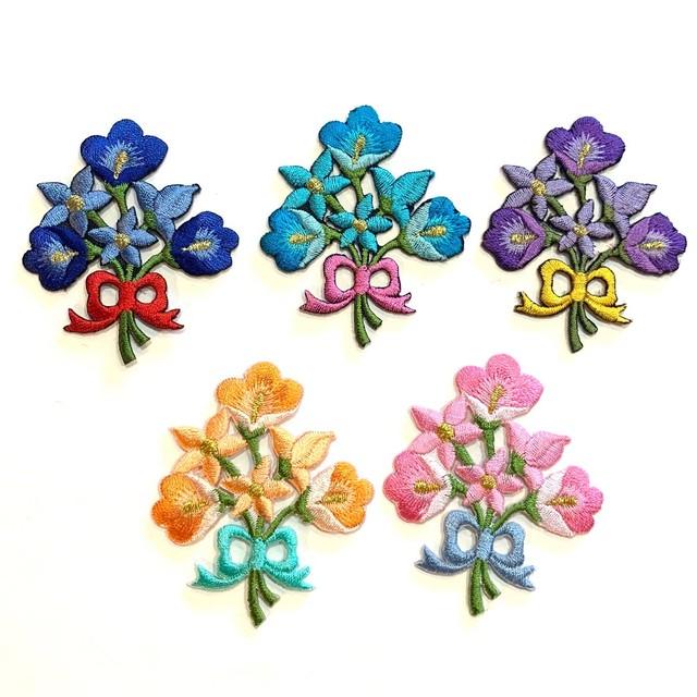 花束のワッペン(お花6つ)