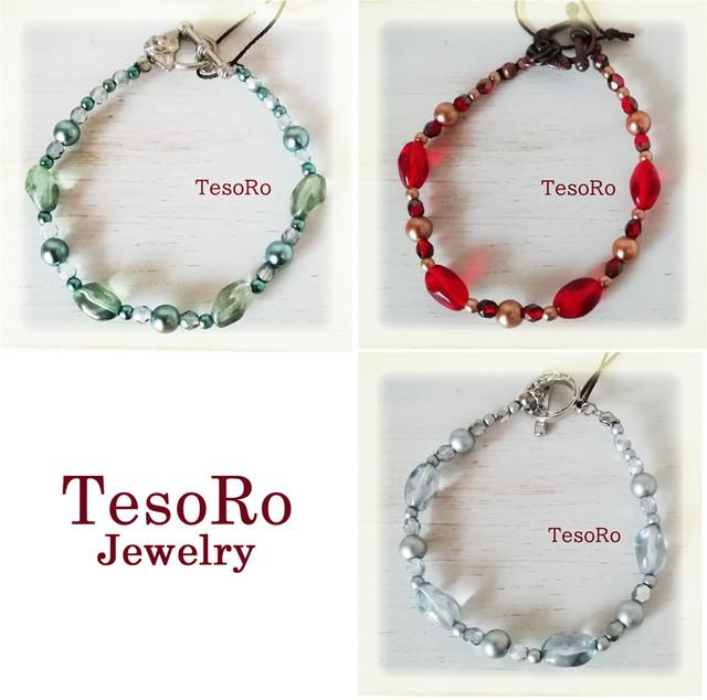 TesoRo:マンテルブレスレット A オリーブR、 B 赤 C ブルーグレー 選んで買える