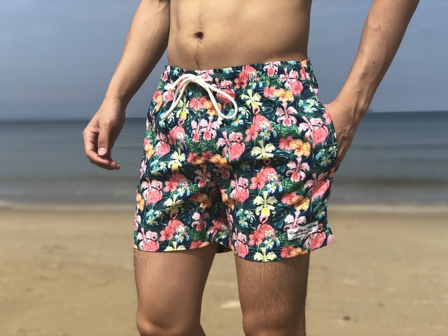 ThreeArrows Print Board Shorts(botanical garden black)