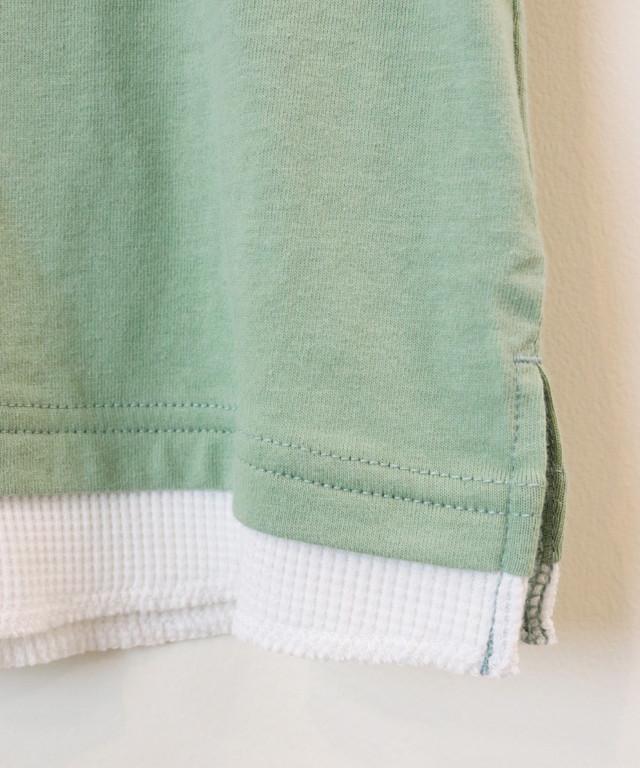 レイヤード風プリント半袖TEE