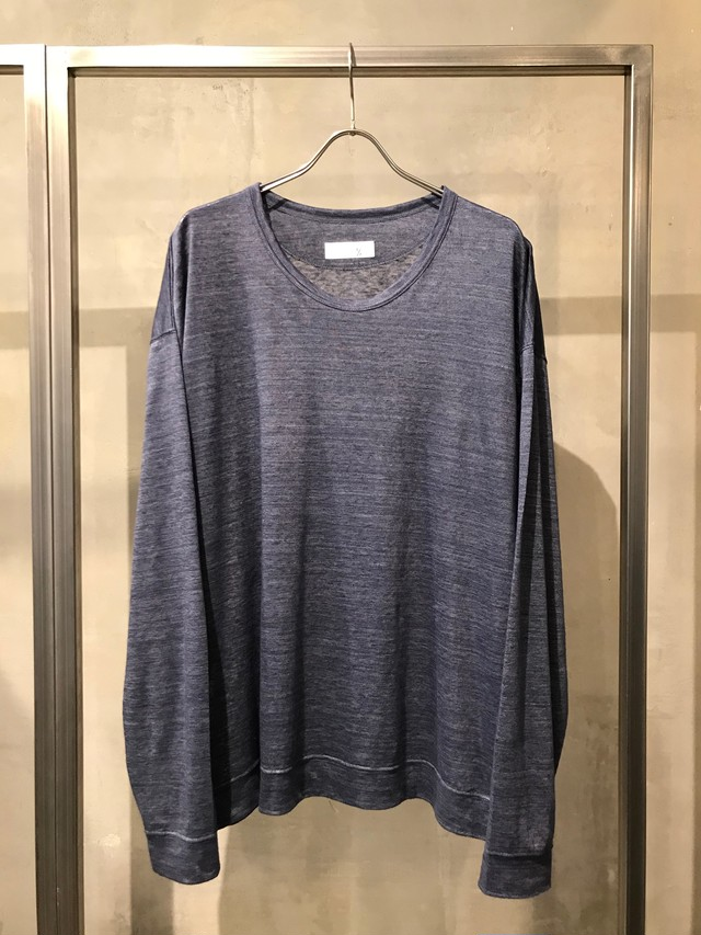 T/f wide fit high gauge knit top - combined blue gray