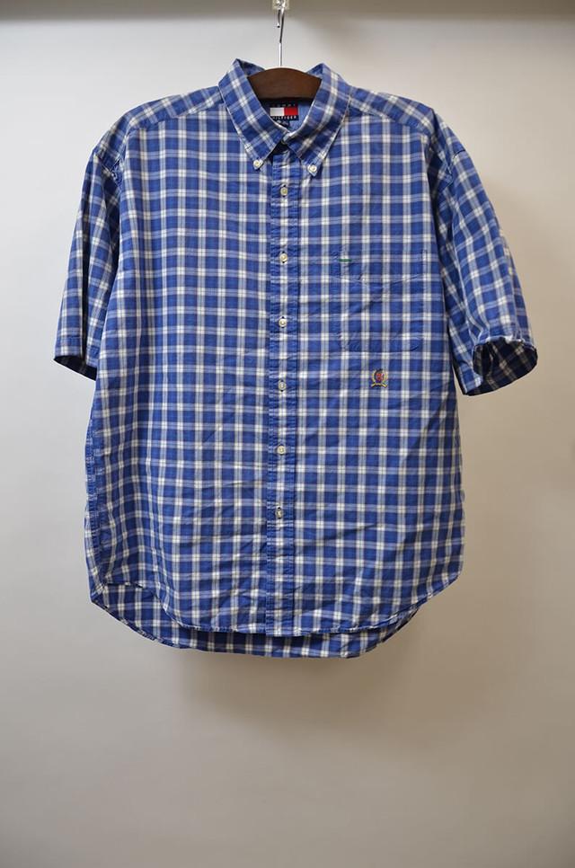TOMMY HILFIGER トミー・ヒルフィガー SS PLAID B.D.SHIRT 半袖 チェック柄 ボタンダウンシャツ BLUE ブルー 400602190650