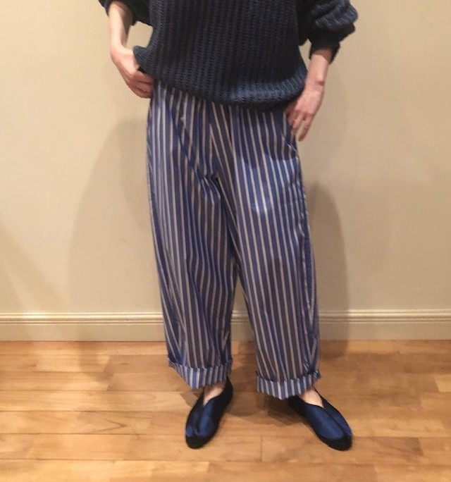 cristaseya   [STRIPED COTTON CURVED PYJAMA PANTS]