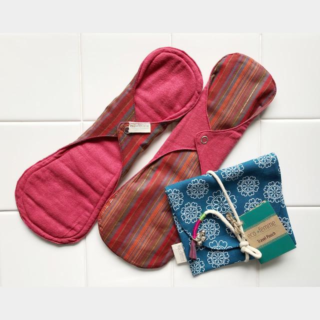 【7/24以降発送します】ポーチ付き夜用(防水あり)肌面:オーガニック染料使用2枚セット/1 Carry Pouch and 2 Night Pads - Vibrant Organic