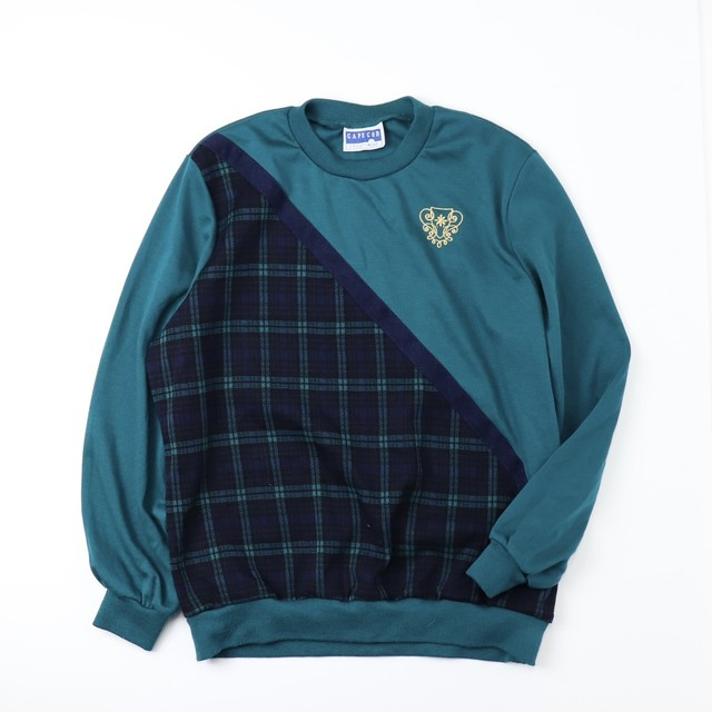 80's Vintage  USA 【CAPE COD】Check patchwork Sweats  80年代 アメリカ製 チェック柄 切り替え カットソー スウェット 日本L〜XL