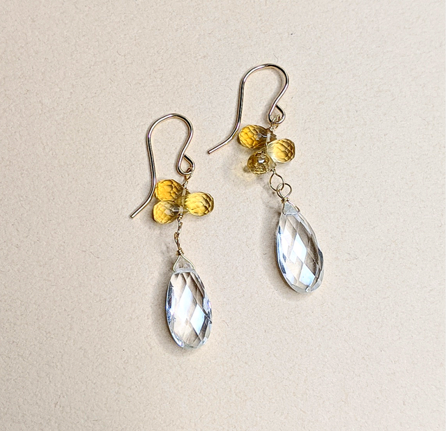 Citrine & Quartz earrings | MIHO meets RUKUS