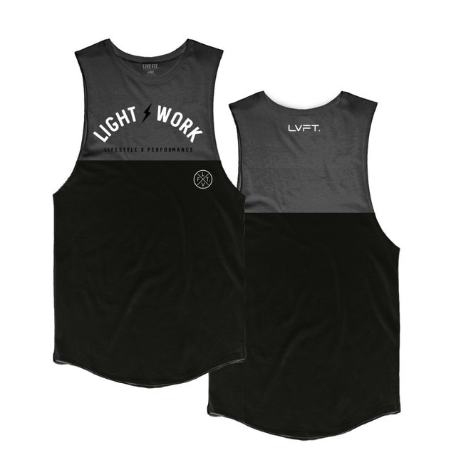 LIVE FIT Light Work Split Tank - Black/ Olive