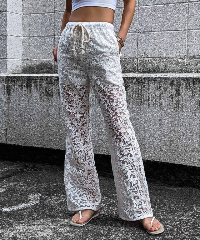 Embroidery rope pants