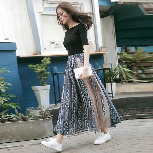 ボヘミアン風 春夏 ひざ丈スカート ロングスカート SHQ293101
