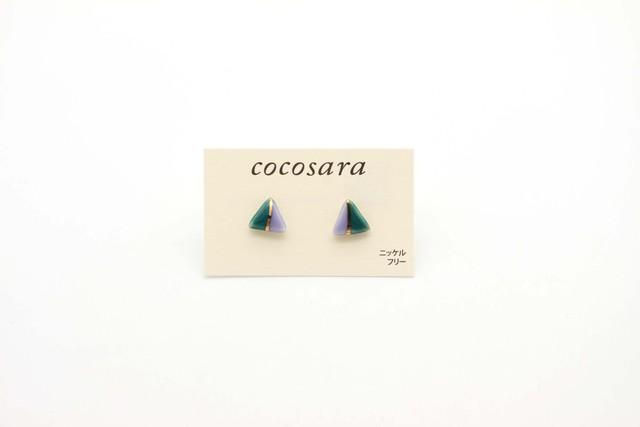 有田焼ピアス 2トーン 緑×薄紫