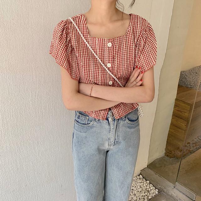 【tops】スウィートレトロ半袖着痩せスクエアネックチェック柄Tシャツ