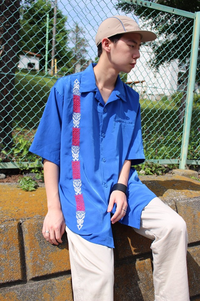 Blue Embroidery Chicano Shirt
