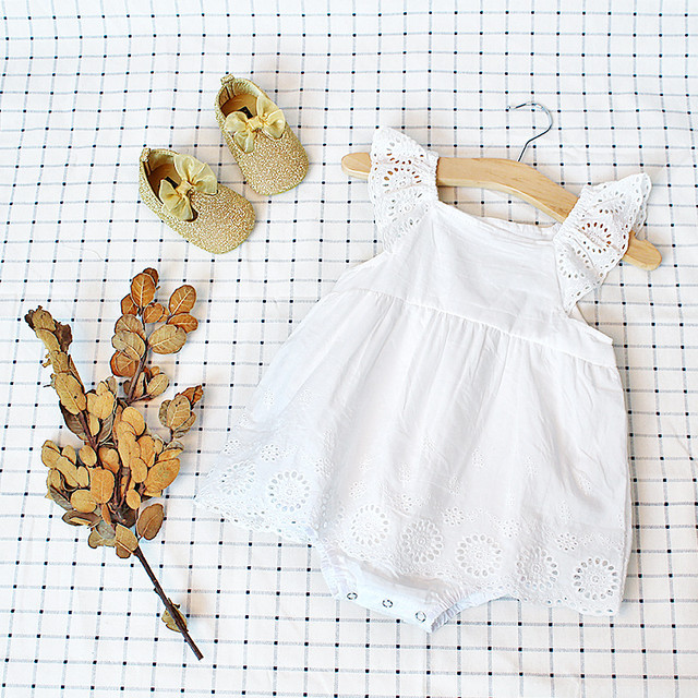【夏物予約】コットン刺繍ロンパース