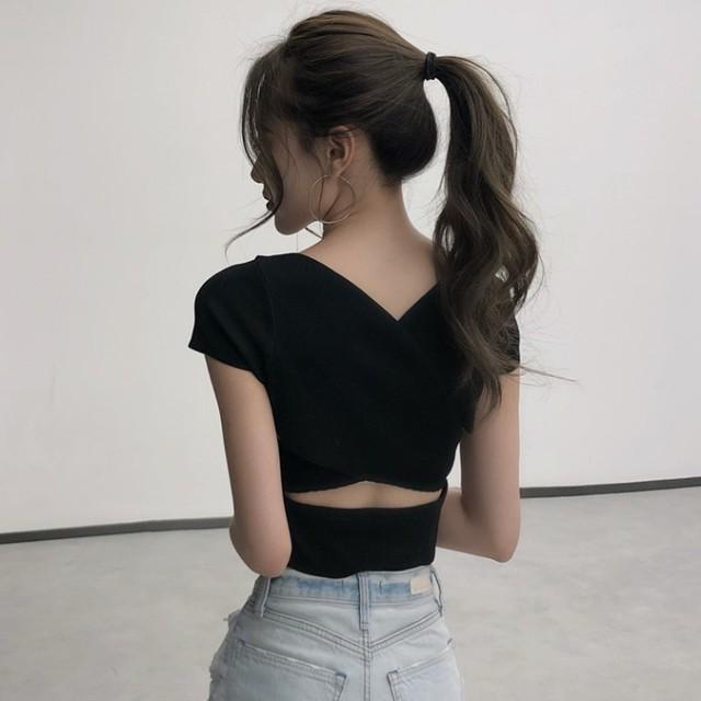 【トップス】好感度UPカジュアルブラック半袖VネックファッションTシャツ19519870