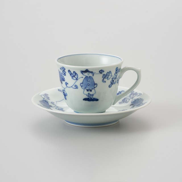"【青花】""唐草異人"" 百合型コーヒー碗皿"