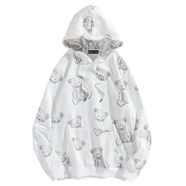 ユニセックス パーカー プラスベルベット クマちゃん ベアー プリント 長袖 オーバーサイズ 韓国ファッション メンズ レディース 男女兼用 大きめ カジュアル ストリート / Bear plus fleece hooded sweater (DTC-627634863107)