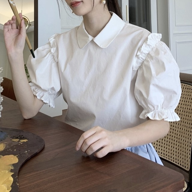 balloon sleeve french blouse