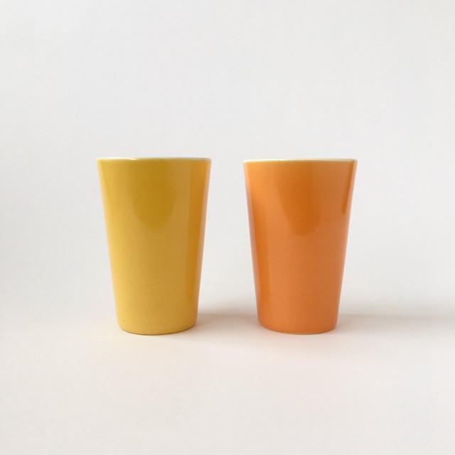 黄色とオレンジの磁器のコップ|Yellow & Orange Porcelain Tumbler