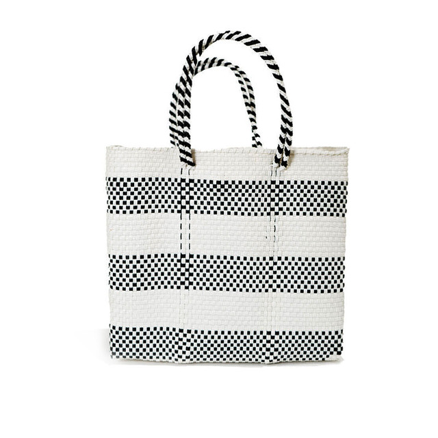 MERCADO BAG BORDER2-White x Black (S)