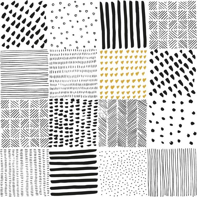 2021秋冬【Paperproducts Design】バラ売り2枚 ランチサイズ ペーパーナプキン Patchwork ホワイトxブラック