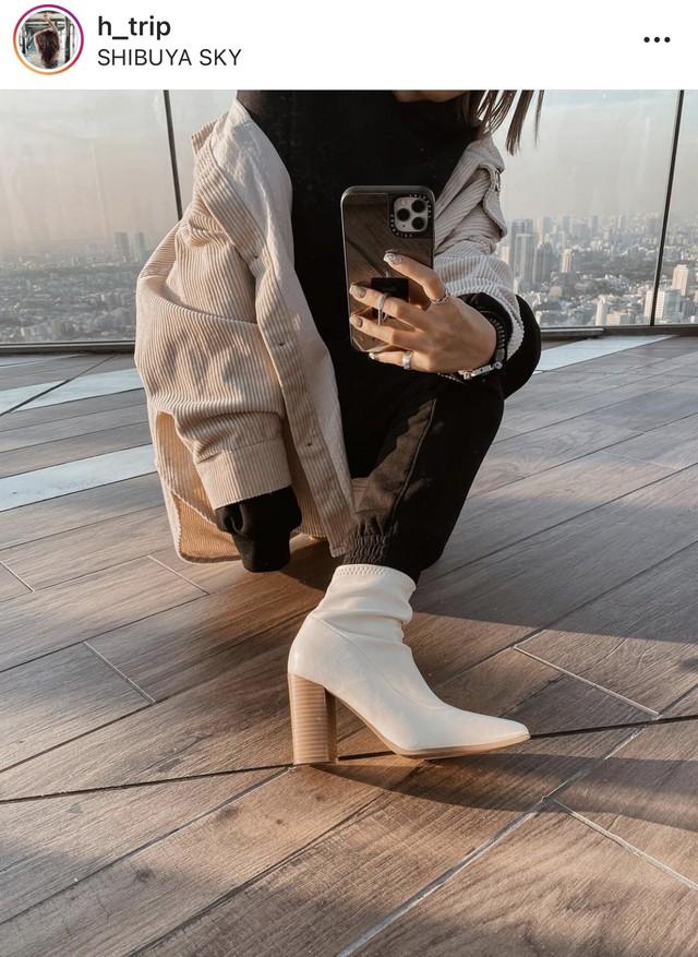 <インスタグラマー様ご愛用>【羊革】異素材デザインヒールショートブーツ 2色&2種展開