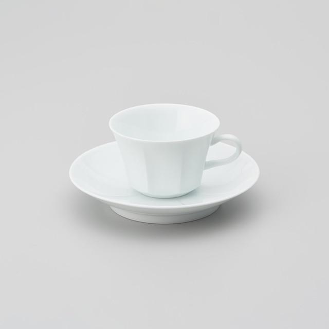 【中仙窯】白磁面取り紅茶碗皿