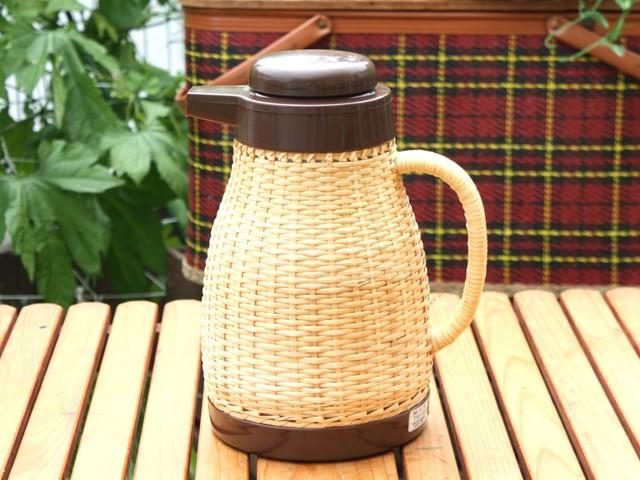 タイガー 天然の籐編み 保温・保冷ポット ナチュラルブラウン(小サイズ) 昭和レトロ キャンプ ピクニック