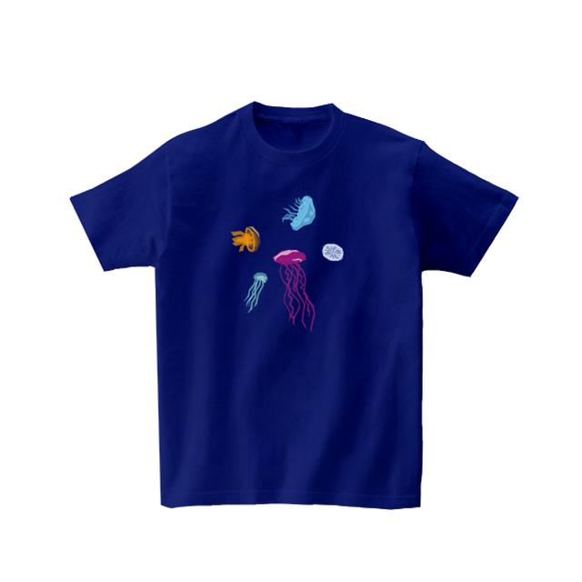 動物Tシャツ-くらげいろいろ(ジャパンブルー)