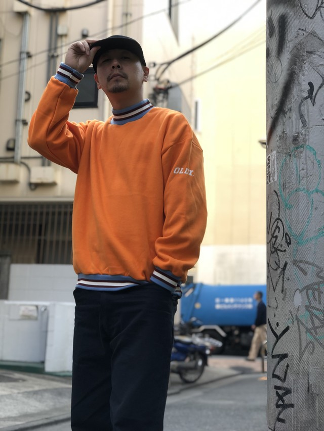 Half turtleneck sweat shirts ORANGE