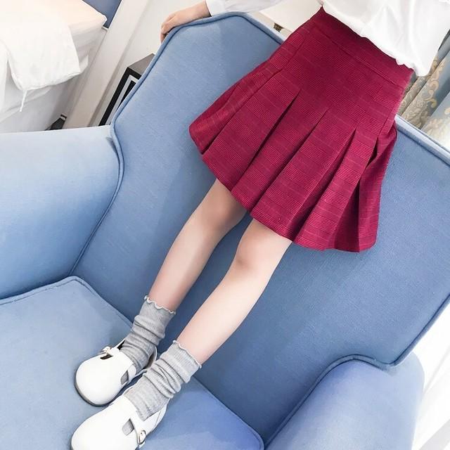 110~160cm ★ 秋色 プリーツ ミニ スカート チェック柄