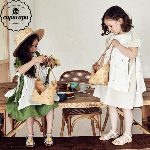 «sold out»«pourenfant» ember flower linen apron 2colors  リネン エプロン