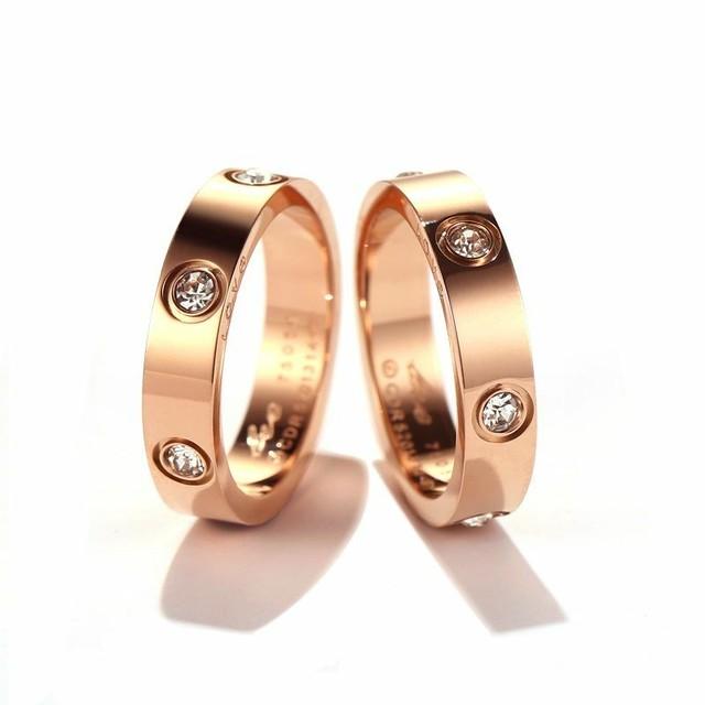 リング レディース メンズ ペアリング 金属アレルギー対応 ピンクゴールド チタン316L 指輪 キュービックジルコニア キラキラ アクセサリー ジュエリー (DCT-578030172818)