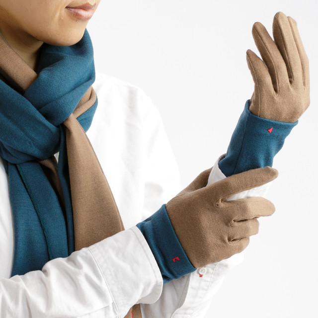 【セット販売】ターコイズ × キャメル コーデ(お得な3点セット) ロングマフラーと手袋にリストマフラーをプラス