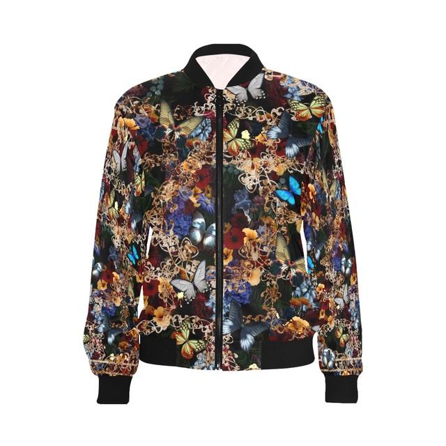 家紋装飾ライン Black メンズ&レディースボンバージャケット