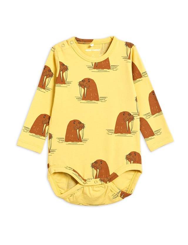 【21AW】minirodini(ミニロディーニ) Walrus bodysuits  Yellow ロンパース セイウチ