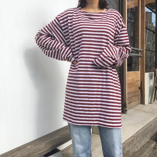 "USED "" crew neck border top """