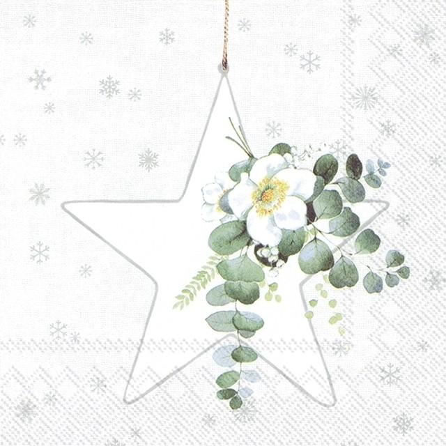 2021秋冬【IHR】バラ売り2枚 ランチサイズ ペーパーナプキン WHITE XMAS BIG STAR ホワイトxシルバー