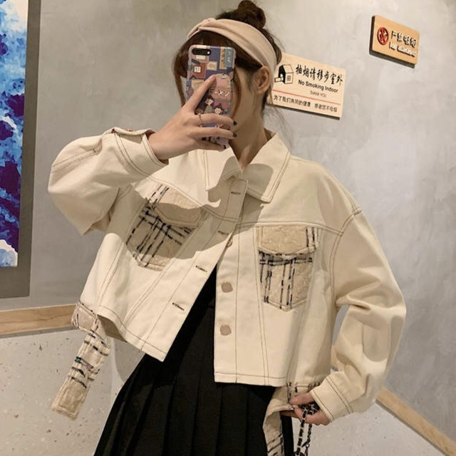ショート 丈 デニム ジャケット アウター レディース 春 秋 長袖 韓国 ファッション 可愛い チェック 柄 カジュアル OU-0116