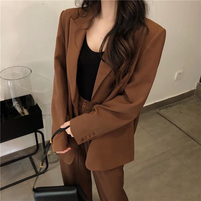 シックなスーツジャケット+ハイウエストパンツ S2577