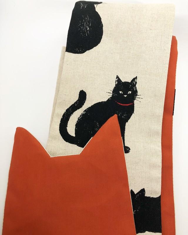 黒猫の女性用半幅帯【オレンジ×猫耳】