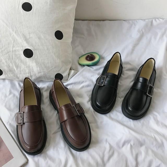 【shoes】レトロ学園風合わせやすいPU厚底無地シューズローヒールパンプス
