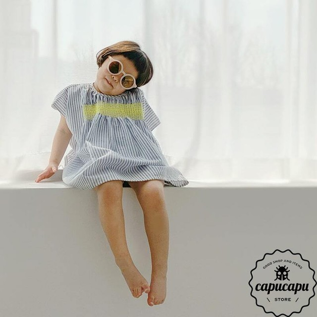 «sold out» striped smocked one piece 2colors ストライプ スモッキングワンピース