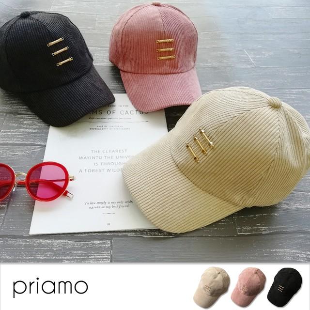 【即納】新作 THREEチャーム コーデュロイキャップ 帽子 野球帽 カジュアル キャップ レディース A15-25