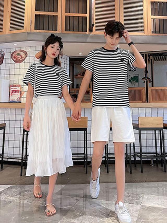 ボーダー Tシャツ スカート 0989 メンズTシャツ カップル ペアルック リンクコーデ カジュアル お揃い デート