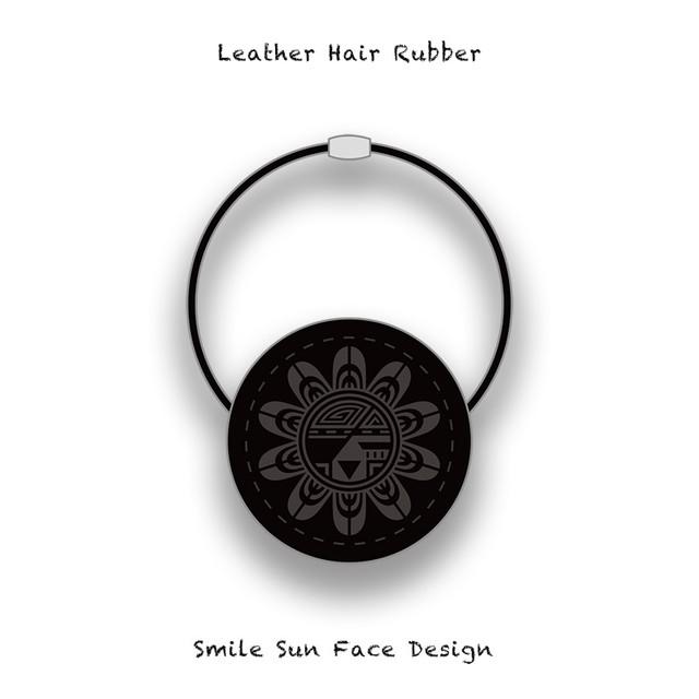 Leather Hair Rubber / Smile Sun Face Design 003