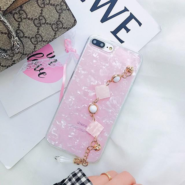 <ピンク>シェルケース キラキライミテーションダイヤのストラップ付き(SPCa0027PK)◆スマホケース/iPhoneケース